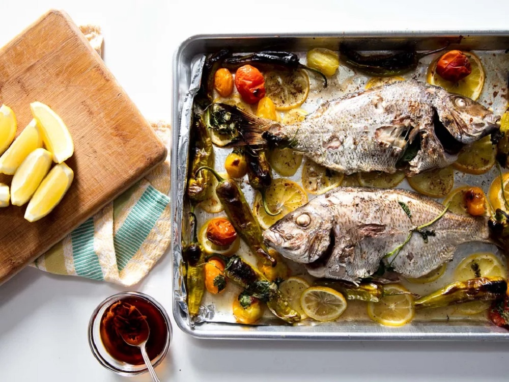 Broiled Whole Porgy With Blistered Shishito and Tomato Recipe