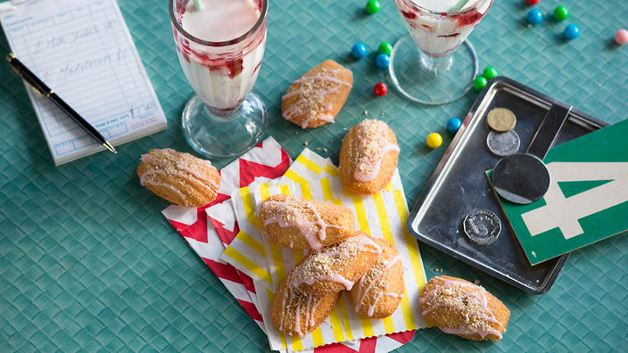 Jam and coconut madeleines