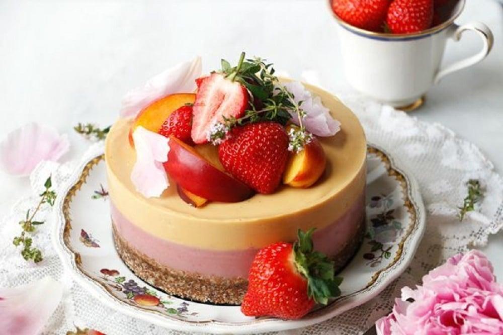 Peach And Strawberry Bavarois