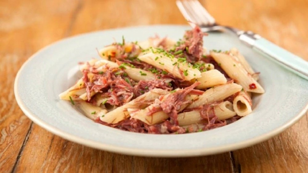 Penne With Beef Jerky and Wine