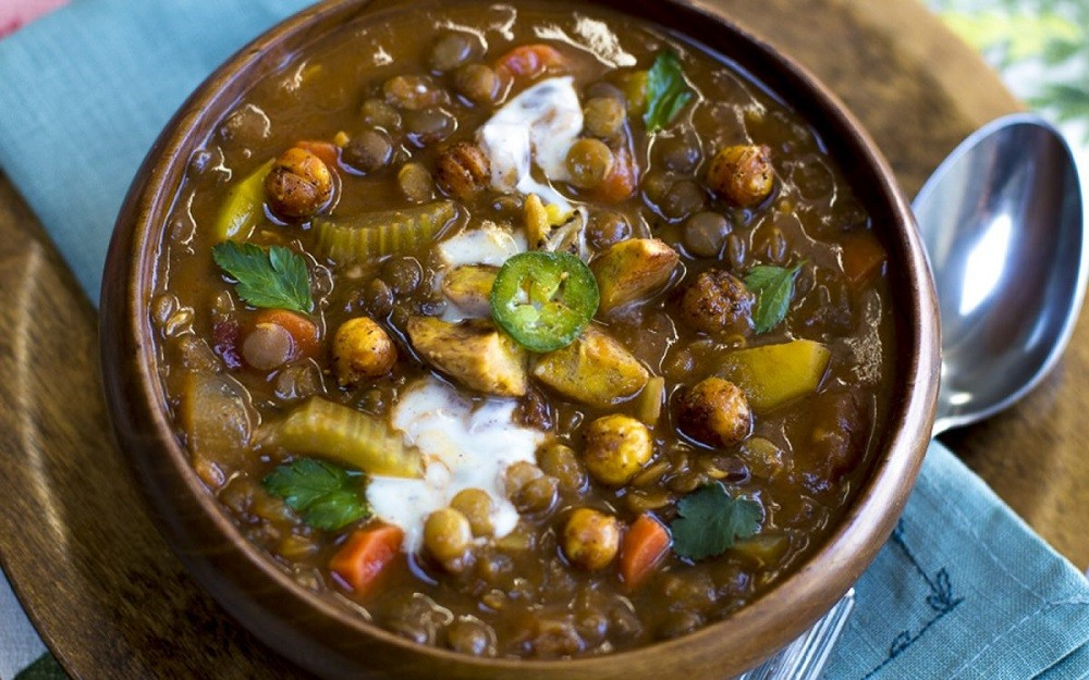 Cuban Lentil Soup With Baked Plantains and Lemon Crema