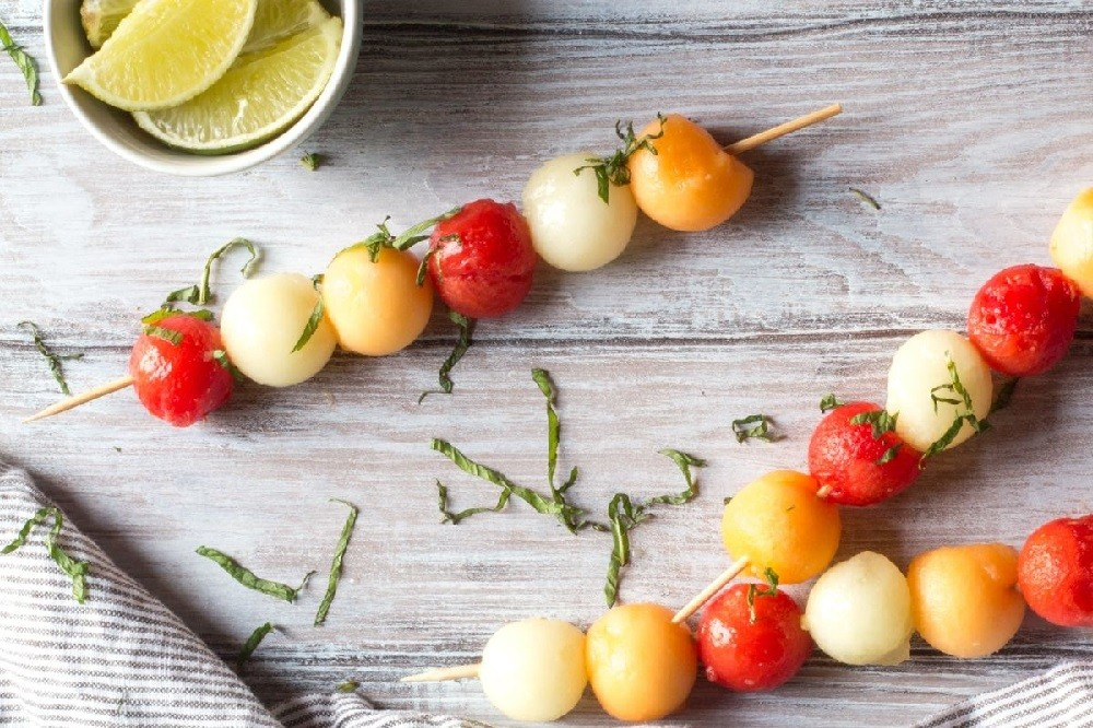 Honey and Lime Melon Ball Skewers With Mint By The Wimpy Vegetarian