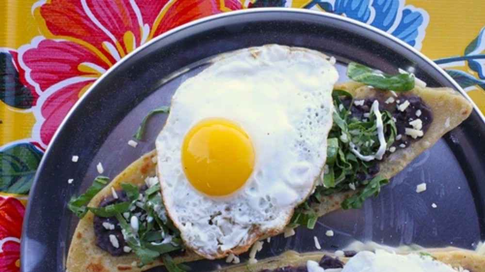 Huaraches with Black Beans & Fried Eggs