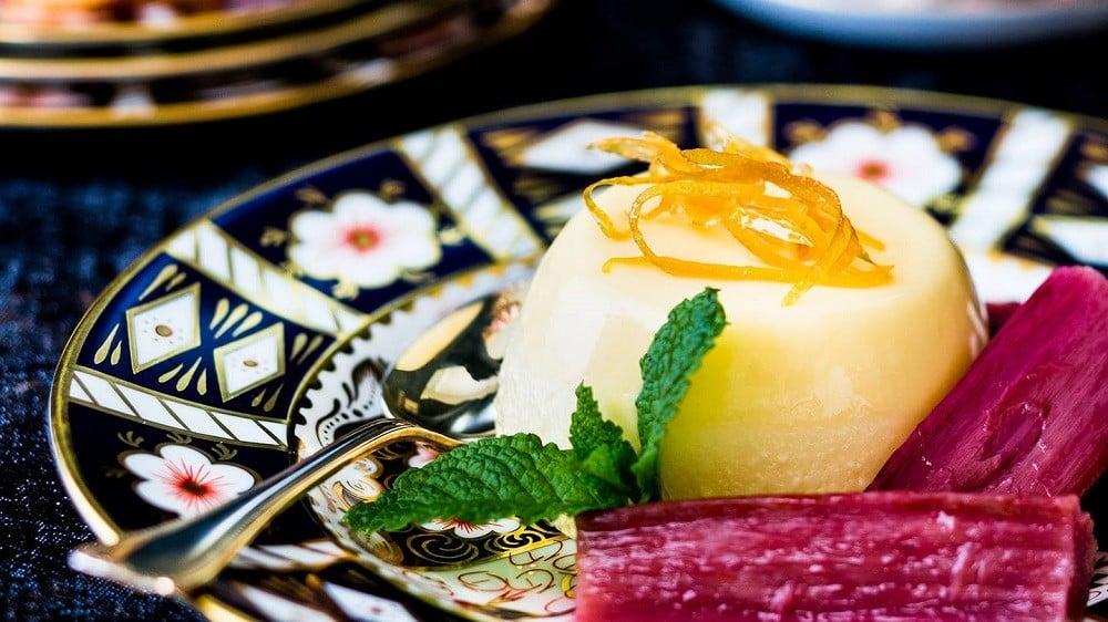 Lemon bavarois, poached rhubarb and langues-de-chat