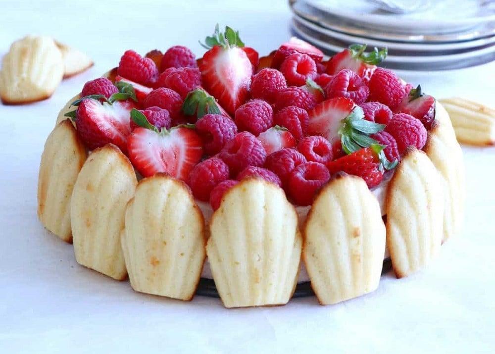 Madeleine Strawberry Charlotte Cake
