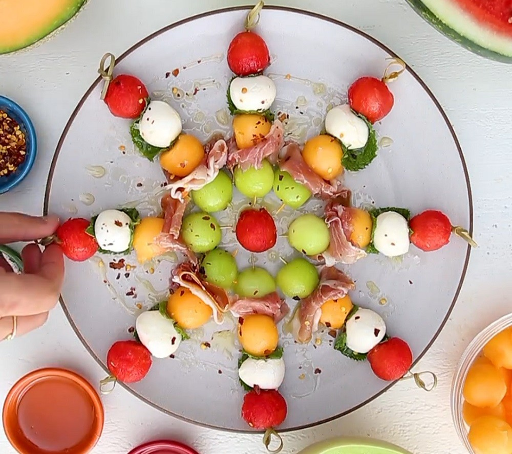 Melon Ball Skewers With Prosciutto, Mozzarella, and Fresh Mint By Feed Feed