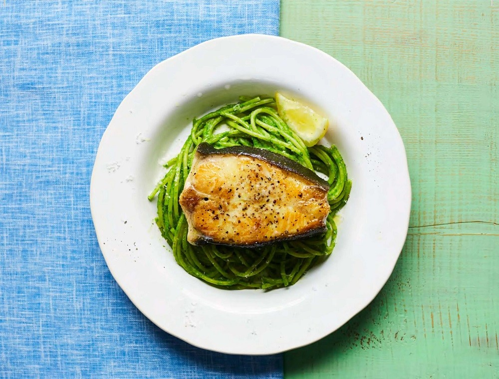 Pan-Fried Halibut With Green Spaghetti (By CKBK)
