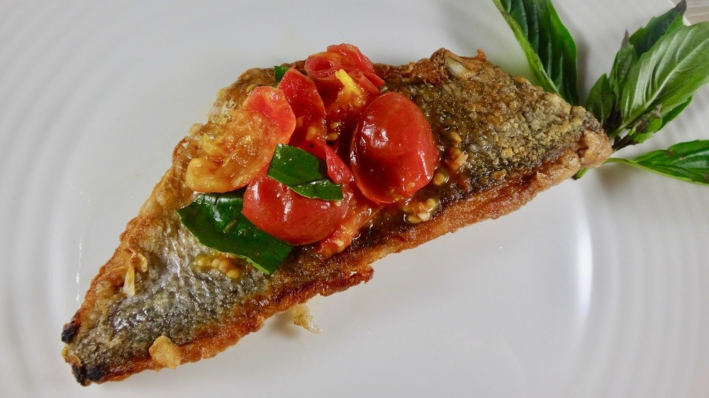 Pan-Fried Porgy With Tomatoes & Basil