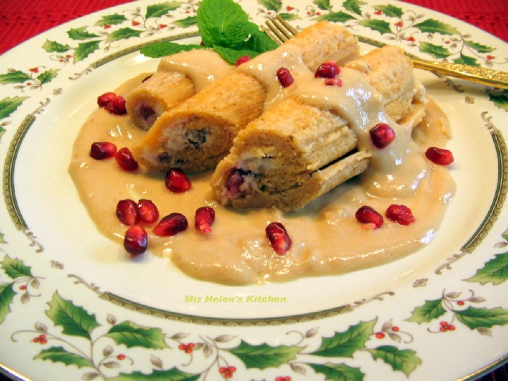 Pomegranate Tamales with Flan Sauce
