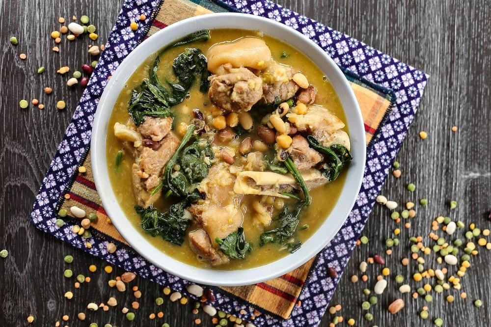 Pork Leg, Lentil, Peas, and Bean Stew