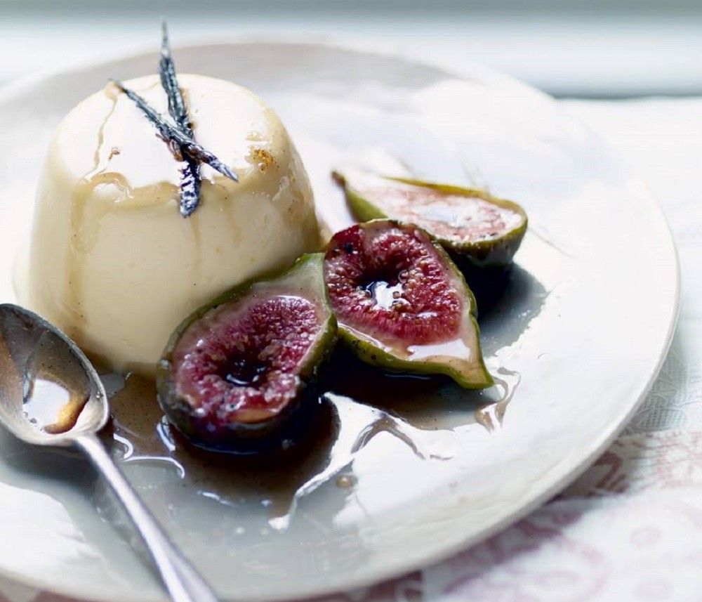Rose Scented Bavarois With Poached Figs